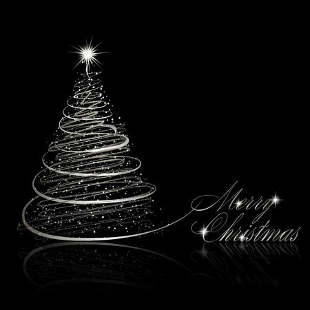 Silver Christmas tree on black background.  illustration Illustration