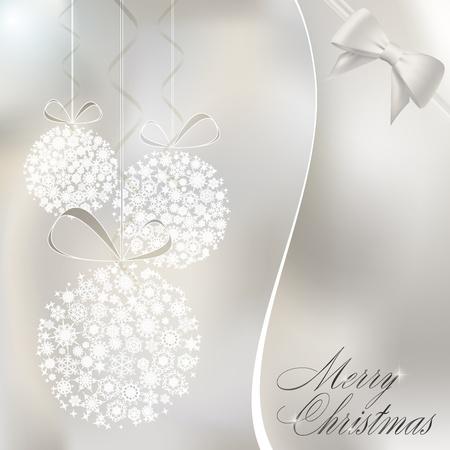Abstract christmas balls made of white snowflakes. Christmas greeting card.  illustration
