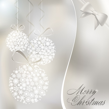 Abstract christmas balls made of white snowflakes. Christmas greeting card.  illustration