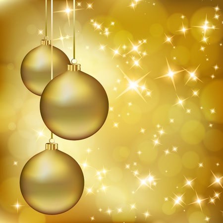 Golden Christmas balls on abstract gold background.   illustration