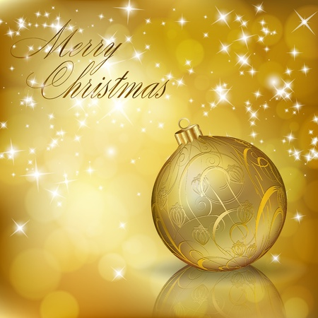 Golden Merry Christmas greeting card. illustration Stock Vector - 11531545
