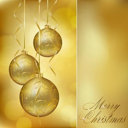 抽象的な黄金のクリスマスのポストカードです。図