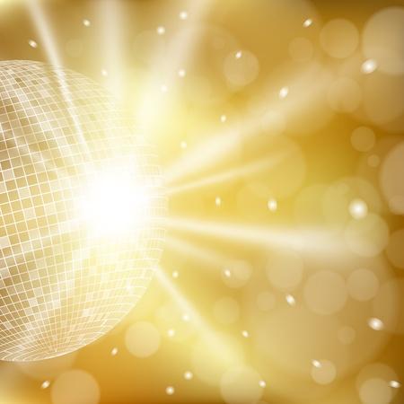 ディスコ ボールと抽象的な黄金背景。ベクトル eps10 図