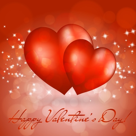 Valentines day greeting card with two red hearts. Vector eps10 illustration Vector
