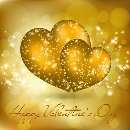2 つの黄金の心とバレンタインの日グリーティング カード。ベクトル eps10 図