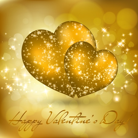 Valentine's day greeting card with two golden hearts. Vector eps10 illustration