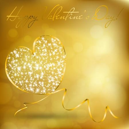 リボンからの抽象的な心とバレンタインの日グリーティング カード。ベクトル eps10 図