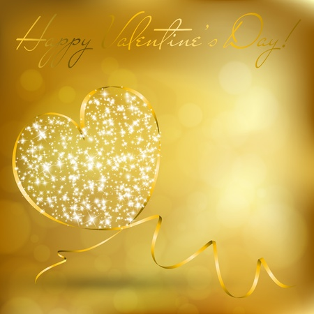 Valentines day greeting card with abstract heart from ribbon. Vector eps10 illustration