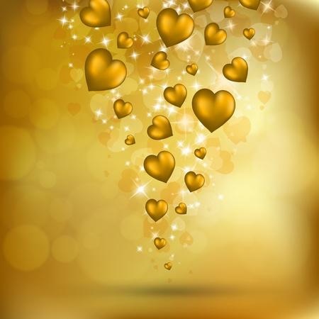 抽象的な空飛ぶ黄金の心。バレンタインの日ポストカード。ベクトル eps10 図