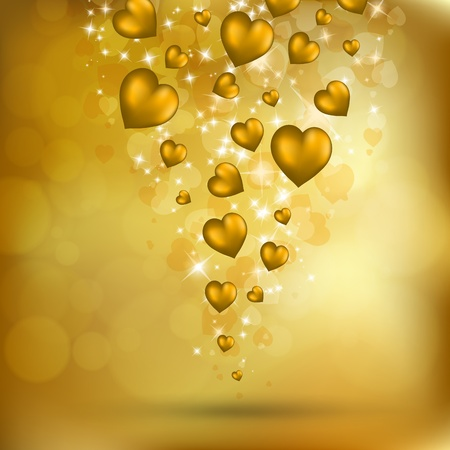 Abstract flying golden hearts. Valentines day postcard. Vector eps10 illustration