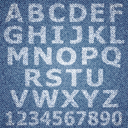 Jeans alphabet. background Vector