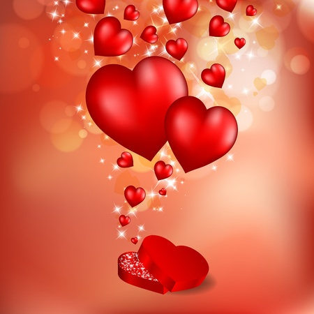 Abstract flying red hearts. Valentines day greeting card. illustration