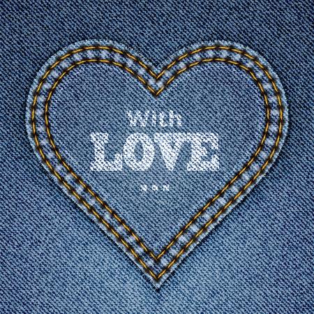 デニムの背景にブルー ジーンズ心を抽象化します。バレンタインの日グリーティング カード。図  イラスト・ベクター素材