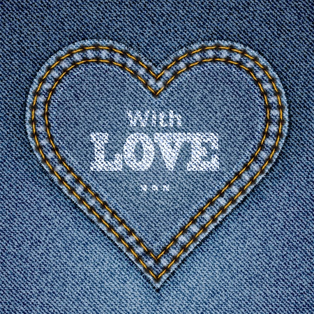 i label: Abstract blue jeans heart on denim background. Valentines day greeting card. illustration