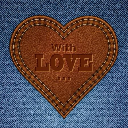 ジーンズの背景に抽象的なレザー ハート。バレンタインの日グリーティング カード。図