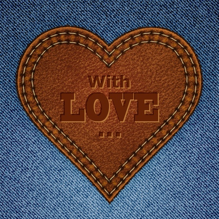 Abstract leather heart on jeans background. Valentine day greeting card. illustration Vector