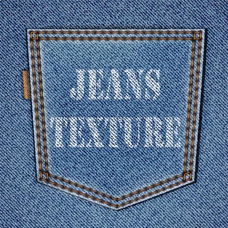 現実的なジーンズ テクスチャ上のジーンズのポケットをバックアップします。バック グラウンド  イラスト・ベクター素材