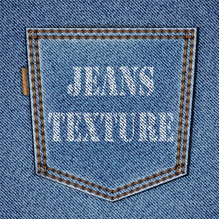Back jeans pocket on realistic jeans texture. background Vector