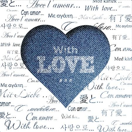 ブルー ジーンズの心を抽象化します。バレンタインの日グリーティング カード。図