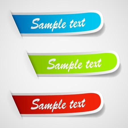 Set of multicolored sticker labels. illustration
