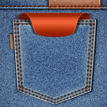 赤の価格タグのラベルとのジーンズのポケットをバックアップします。  イラスト・ベクター素材
