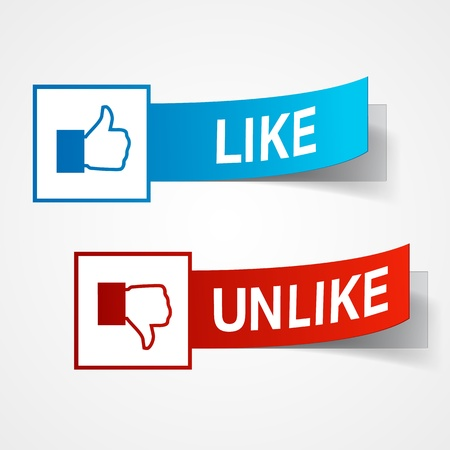 Like and unlike symbols. Thumb up and thumb down signs.  illustration Illustration