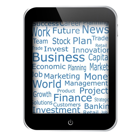 Business and financial words on tablet pc screen eps10 illustration Vector