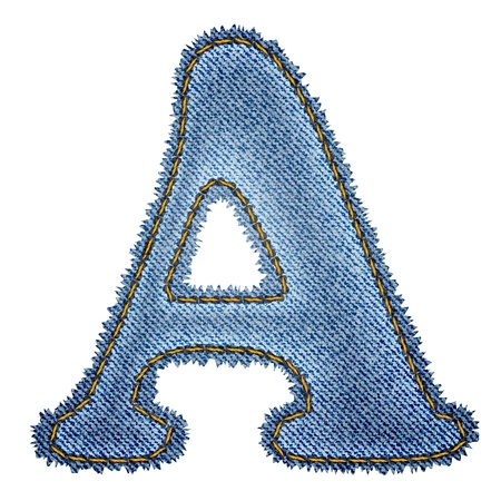 denims: Jeans alphabet. Denim letter A.  Illustration