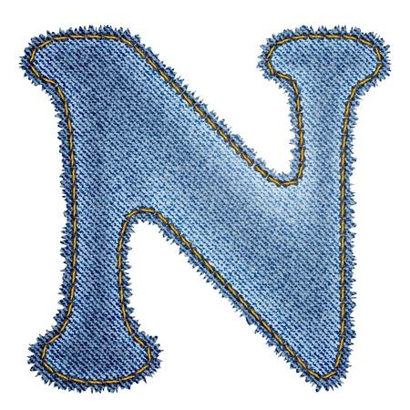 letter n: Jeans alphabet  Denim letter N