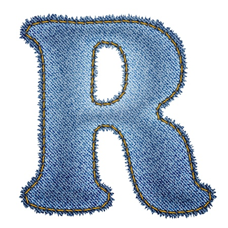 letter r: Jeans alphabet  Denim letter R  Illustration