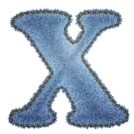 Jeans alphabet  Denim letter X