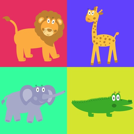 Cute safari cartoon animals set - lion, giraffe, crocodile and elephant Vector