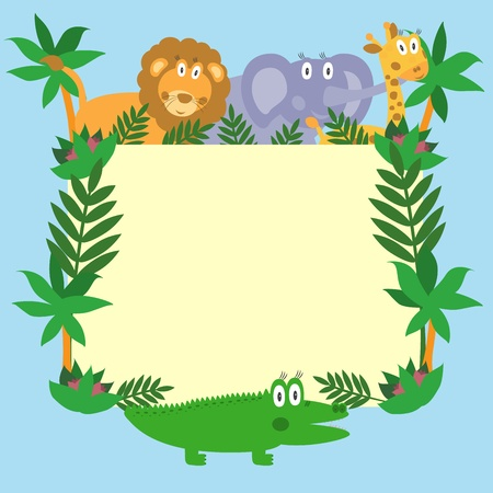 Cute safari cartoon animals - lion, giraffe, crocodile and elephant Vector