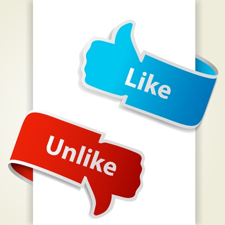 Like and unlike icons. Thumb up and thumb down signs for blogs and websites. Vector illustration