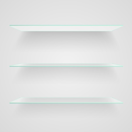 Glass shelves on light grey background. Vector illustration