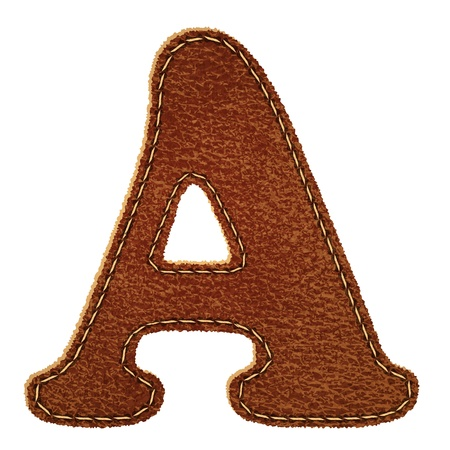 leather stitch: Leather alphabet. Leather textured letter A.  Illustration