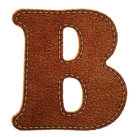 革のアルファベット。テクスチャード レザー手紙 b.