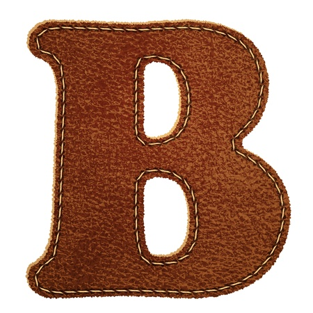Leather alphabet. Leather textured letter B.  Vector