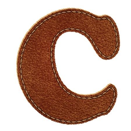 革のアルファベット。革の質感の手紙 c.  イラスト・ベクター素材