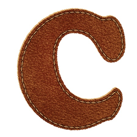 Leather alphabet. Leather textured letter C.  Vector