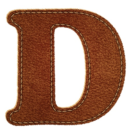 Leather alphabet. Leather textured letter D. Vector eps10 background Vector