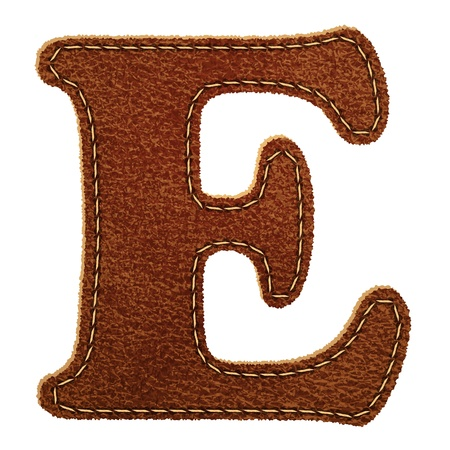 Leather alphabet. Leather textured letter E.  Vector