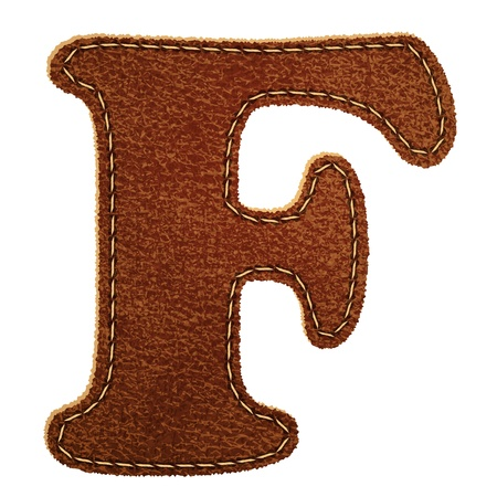 Leather alphabet. Leather textured letter F.  Vector