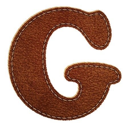 Leather alphabet. Leather textured letter G.  Vector