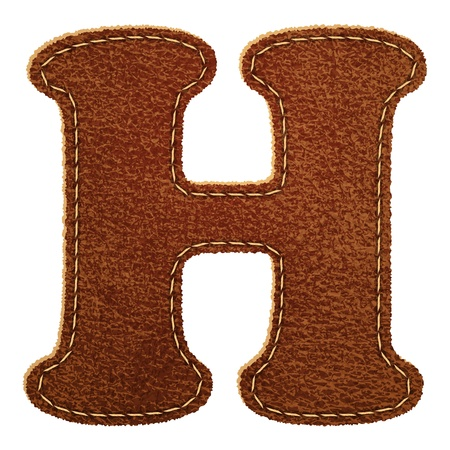 Leather alphabet. Leather textured letter H. Vector eps10 background