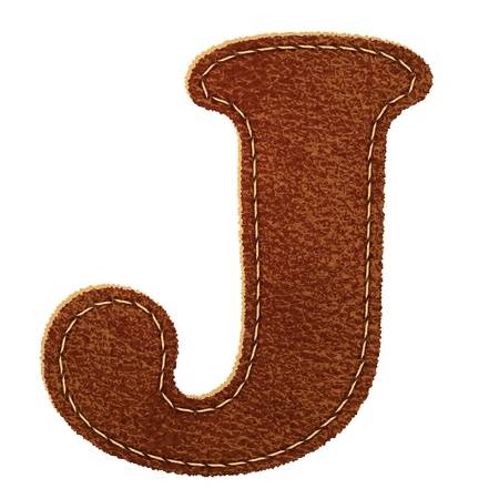 Leather alphabet. Leather textured letter J.  Vector