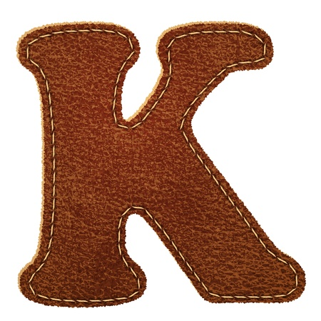 Leather alphabet. Leather textured letter K  Vector