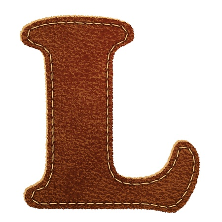 Leather alphabet. Leather textured letter L.   Vector