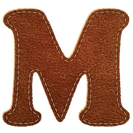 letra m: Cuero alfabeto. Cuero carta de M. de textura de fondo Vector eps10