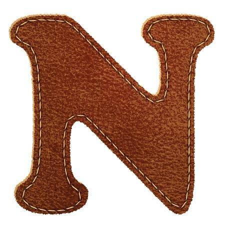 革のアルファベット。テクスチャード レザー手紙 N